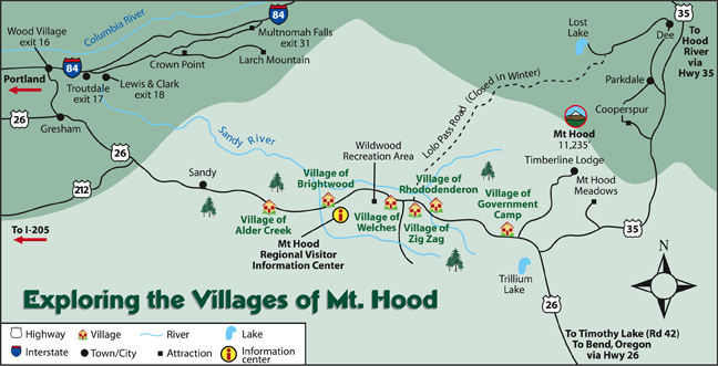illustrated area map of the Villages of Mt Hood, Oregon